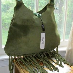 ADA COLLECTION GREEN SUEDE FRINGE HOBO CHICK BAG